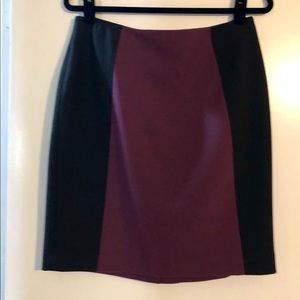 Black and Plum Color Block Pencil Skirt